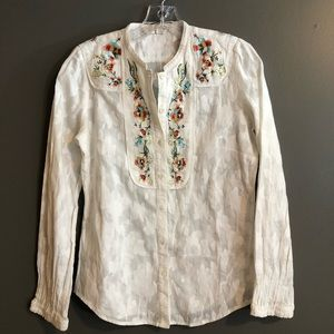 Robert Graham Button Down Embroidered Blouse XS